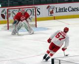 Victor Brattstrom faces a shootout attempt from Taro Hirose during a scrimmage at the Detroit Red Wings' 2019 Development Camp.