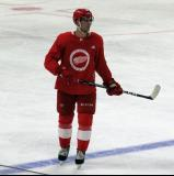 Joe Veleno gets set for a shootout attempt during a scrimmage at the Detroit Red Wings' 2019 Development Camp.