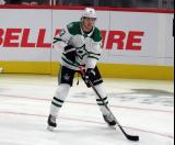 Mattias Janmark of the Dallas Stars skates in pre-game warmups before a game against the Detroit Red Wings.