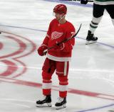 Christoffer Ehn of the Detroit Red Wings skates at center ice during pre-game warmups before a game against the Dallas Stars.