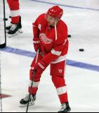 Justin Abdelkader of the Detroit Red Wings skates near the blue line during pre-game warmups before a game against the Dallas Stars.