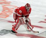 Jonathan Bernier of the Detroit Red Wings skates at center ice during pre-game warmups before a game against the Dallas Stars.