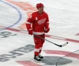 Justin Abdelkader of the Detroit Red Wings skates at center ice during pre-game warmups before a game against the Dallas Stars.