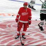 Valtteri Filppula of the Detroit Red Wings skates at center ice during pre-game warmups before a game against the Dallas Stars.