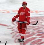 Jacob de la Rose of the Detroit Red Wings skates at center ice during pre-game warmups before a game against the Dallas Stars.