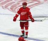 Taro Hirose of the Detroit Red Wings stands at the blue line during pre-game warmups before a game against the Dallas Stars.