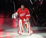 Jonathan Bernier of the Detroit Red Wings skates onto the ice during player introductions before the Red Wings' home opener against the Dallas Stars.
