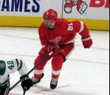 Frans Nielsen of the Detroit Red Wings skates up ice during a game against the Dallas Stars.