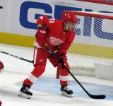 Valtteri Filppula of the Detroit Red Wings skates near the opposition net during a game against the Dallas Stars.
