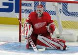 Jonathan Bernier of the Detroit Red Wings warms up in his crease at the start of the second period of a game against the Dallas Stars.