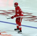 Dennis Cholowski of the Detroit Red Wings lines up for a faceoff during a game against the Dallas Stars.