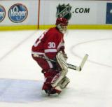 Chris Osgood gets set in the crease during pregame warmups.