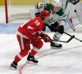 Tyler Bertuzzi of the Detroit Red Wings and Rhett Gardner of the Dallas Stars line up opposite each other on a faceoff.
