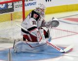 Calvin Pickard of the Grand Rapids Griffins faces shots during pre-game warmups before a game against the Milwaukee Admirals.