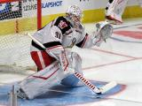 Calvin Pickard of the Grand Rapids Griffins faces shots in his crease during pre-game warmups before a game against the Milwaukee Admirals.