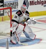Filip Larsson of the Grand Rapids Griffins stands in the crease during pre-game warmups before a game against the Milwaukee Admirals.