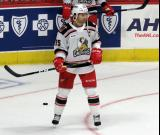 Matthew Ford of the Grand Rapids Griffins stands near the goal during pre-game warmups before a game against the Milwaukee Admirals.