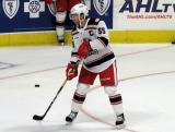 Matthew Ford of the Grand Rapids Griffins skates in the slot during pre-game warmups before a game against the Milwaukee Admirals.