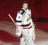 Calvin Pickard of the Grand Rapids Griffins skates onto the ice during player introductions before the team's home opener against the Milwaukee Admirals.