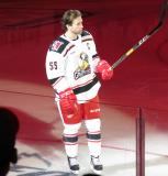 Matthew Ford of the Grand Rapids Griffins skates onto the ice during player introductions before the team's home opener against the Milwaukee Admirals.