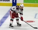 Joe Hicketts of the Grand Rapids Griffins gets set for a faceoff during a game against the Milwaukee Admirals.