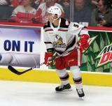 Gustav Lindstrom of the Grand Rapids Griffins skates near the boards during a game against the Milwaukee Admirals.