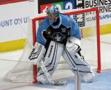 Troy Grosenick of the Milwaukee Admirals gets set in his crease during a game against the Grand Rapids Griffins.