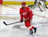 Mike Green of the Detroit Red Wings skates in the neutral zone during pre-game warmups before a game against the Arizona Coyotes.