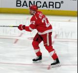 Patrik Nemeth of the Detroit Red Wings skates through the slot during pre-game warmups before a game against the Arizona Coyotes.
