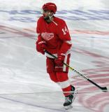 Robby Fabbri of the Detroit Red Wings skates near center ice during pre-game warmups before a game against the Arizona Coyotes.