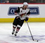 Phil Kessel of the Arizona Coyotes skates during pre-game warmups before a game against the Detroit Red Wings.
