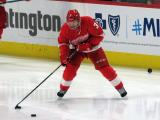 Alex Biega of the Detroit Red Wings skates near the boards during pre-game warmups before a game between the Red Wings and the Calgary Flames.