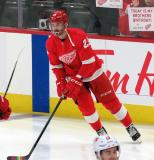 Brendan Perlini of the Detroit Red Wings skates near the boards during pre-game warmups before a game between the Red Wings and the Calgary Flames.