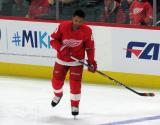 Trevor Daley of the Detroit Red Wings skates near the blue line during pre-game warmups before a game between the Red Wings and the Calgary Flames.
