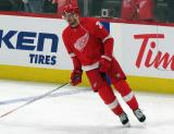 Anthony Mantha of the Detroit Red Wings skates in the neutral zone during pre-game warmups before a game between the Red Wings and the Calgary Flames.