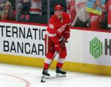 Gustav Lindstrom of the Detroit Red Wings skates near the boards during pre-game warmups before a game between the Red Wings and the Calgary Flames.