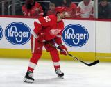Jonathan Ericsson of the Detroit Red Wings gets set for a faceoff during a game between the Red Wings and the Calgary Flames.