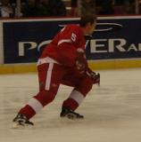 Nicklas Lidstrom skates backwards towards the goal during pregame warmups.