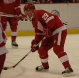 Jason Williams cuts towards the goal with the puck during pregame warmups.