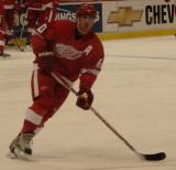 Henrik Zetterberg passes off the puck during pregame warmups.