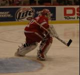 Joey MacDonald shifts his position at the top of the crease to face a new shot during pregame warmups.