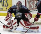 Jimmy Howard gets set at the top of the crease during a game between the Grand Rapids Griffins and the Toronto Marlies.
