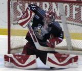 Jimmy Howard makes a blocker save during a game between the Grand Rapids Griffins and the Toronto Marlies.