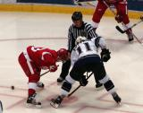 Kris Draper takes a faceoff against the Kings' Anze Kopitar.