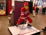 A statue of Steve Yzerman made of Legos, inside the southeast enterance to Joe Louis Arena.