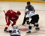Pavel Datsyuk takes a faceoff against Los Angeles' Derek Armstrong.