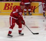Pavel Datsyuk carries the puck in on net during pregame warmups.