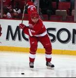 Mikael Samuelsson winds up for a slap shot during pregame warmups.