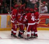 Andreas Lilja, Jason Williams, Jiri Hudler, Henrik Zetterberg and Brett Lebda celebrate a goal by Williams against the Los Angeles Kings.