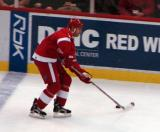 Mathieu Schneider carries the puck out of the Detroit zone.